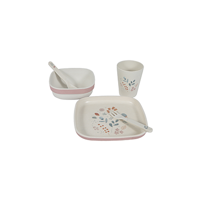 Bamboo kids tableware set Spring Flowers